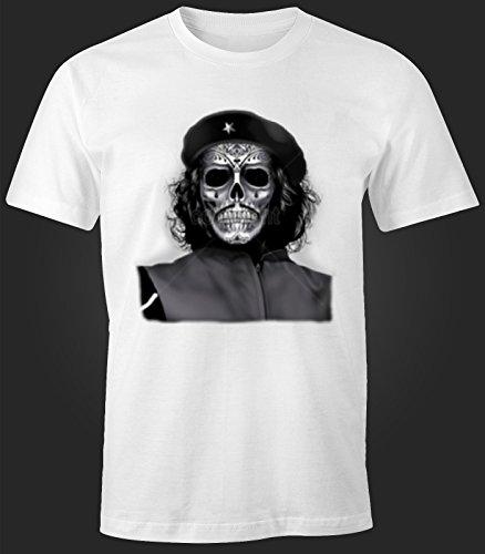 Herren T-Shirt Che Guevara Maske Totenkopf Weiß