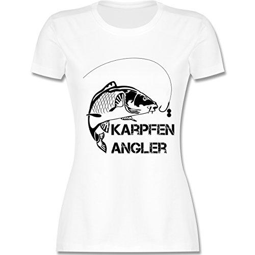 Angeln - Karpfen Angler - tailliertes Premium T-Shirt mit Rundhalsausschnitt für Damen Weiß