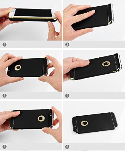 Cover iPhone 6/6s, Custodia Case Bumper Cassa Protettiva Ultra Sottile Indietro Caso Rigida Nero