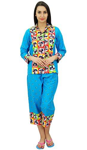 Bimba coton chemise boutonnée avec un de capri fixé de détente costume de nuit Bleu