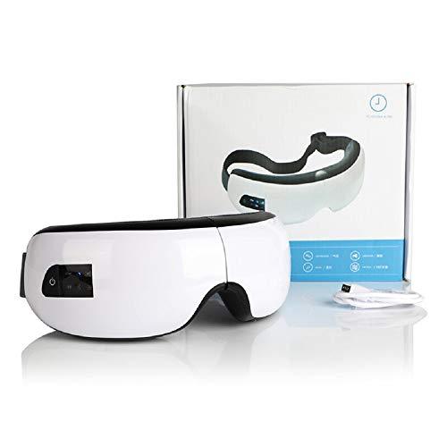 Augen Massagegerät Gasichtsmaske Aufladbare Massagebrille mit Vibration, Luftverdichtung, Wärmefunktion und Musik,White