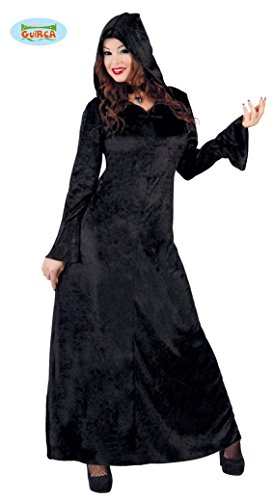 langes Vampir Kleid mit weiten Ärmeln Damen Kostüm Halloween schwarz Gr M-L, - Kostüm Mit Langen Schwarzen Kleid