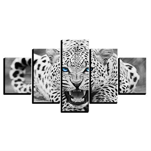 QZHYGE 5 Stücke Hd Drucke Bilder Rahmenlose Blauen Augen Leopard Tiger Leinwand Gemälde Wohnkultur Schwarz Und Weiß Tier Poster Wandkunst 12x16 12x24 12x32in