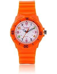 1043 Boys Girls Kids Childrens Quartz Wrist Silicone Watches Casual Simple Daily Waterproof Dress Unisex Wristwatches Orange Band