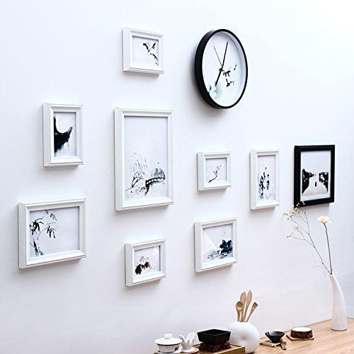 hjky Bilderrahmen Wall Set Foto Wall Modern China Wind Holzrahmen minimalistischen Wohnzimmer Kombination Schlafzimmer Restaurant Foto schwarz / weiß 8 X 10 Magnetische Bilderrahmen