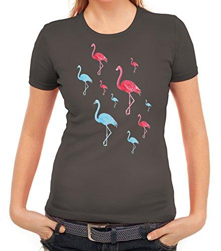 Karneval Fasching Urlaubs Hawaii Damen T-Shirt Gruppen & Paar Kostüm Flamingo Vice, Größe: L,Dunkelgrau