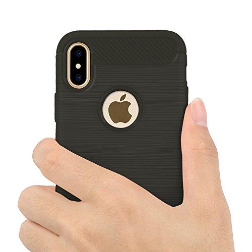 iPhone 8 Plus Hülle, iPhone 7 Plus Hülle, Eouine Shockproof Silikon hülle, Ultra Slim Rückseite Schutzhülle Kohlefaser Bumper Case Cover für Apple iPhone 7 Plus (2016) / iPhone 8 Plus (2017) 5.5-inch  Grau