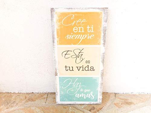 Cartel vintage madera - Frases motivadoras - Cree