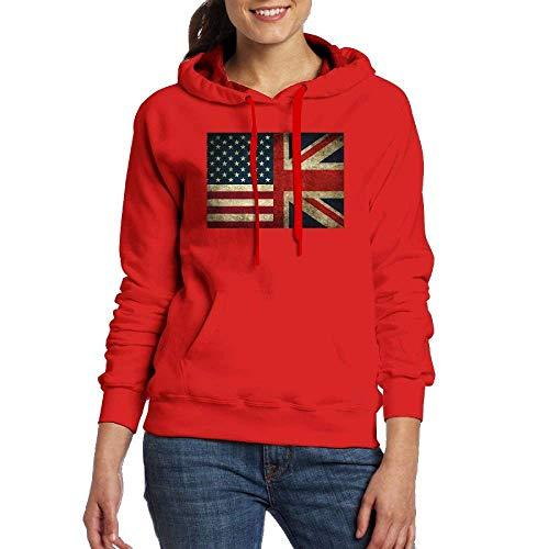 Clothes socks American Flag and British Flag Women's Long Sleeve Hoodies Sweatshirts with Pocket Cap