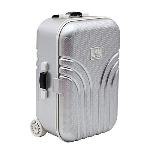 NOWAYTOSTART Mode Puppe Reise Zug Koffer Koffer Spielzeug Baby Koffer Spielzeug niedlichen Kunststoff Rollkoffer Mini Koffer geeignet für Jungen (Silber) und Mädchen (Rosa)
