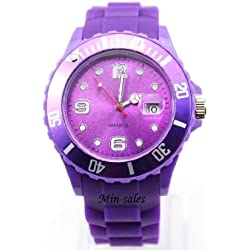 AccessoriesBySej 24 Colours - PURPLE QUARTZ SILICON /RUBBER STYLE JELLY SPORT WRIST WATCHES UNISEX WITH DATE