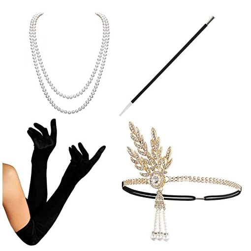 1920s Accessories Set Flapper Costume - KQueenStar(2017 New Design) For Women Pearls Leaf Headpiece,Gloves,Pearl Necklace,Black Cigarette Holder