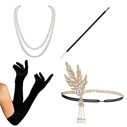 1920s Accessories Set Flapper Costume - KQueenStar(2017 New Design) For Women Pearls Leaf Headpiece,Gloves,Pearl Necklace,Black Cigarette Holder  - 413dgzF8JqL - 1920s Accessories Set Flapper Costume – Pearl Headpiece & Necklace