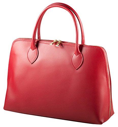 Pelle Italy Damen Henkeltasche Echt Leder 37x26x10 cm (BxHxT), Farbe:Rot Rot