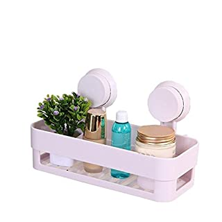 aoxintech Küche Badezimmer Regal Kunststoff Dusche Caddy Organizer Halter Tablett mit Saugnäpfe weiß