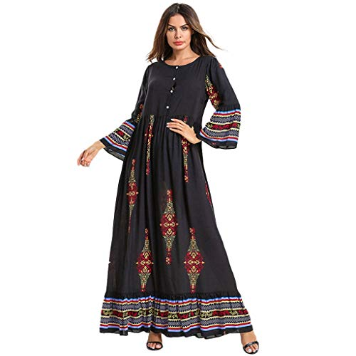 Muslimische Kleider Yesmile Stickerei Langarm Kleid Knöchellang Kleid Tunika Abaya Dubai Abendkleid Hochzeit Kaftan Robe Islamische Frauen Lang Maxikleid Gewand Kleidung Große Größen (Gebet Für Frauen Schal Jüdischen)