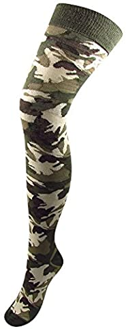 BB Accessories Women's Over-Knee Cotton Socks Camouflage Print One Size