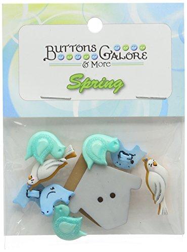 Buttons Galore uccelli di una piuma pulsante di plastica resistente, multicolore - Button Uccello