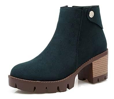 SHOWHOW Damen Retro Stiefelette Blockabsatz Kurzschaft Stiefel Mit Reißverschluss Schwarz 40 EU kDt7cLie