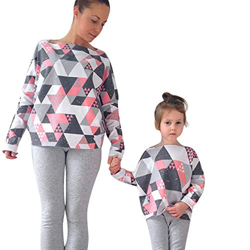(Beginfu Mommy & Me Frauen Dame Long Sleeves Geometric Print Top Familie Kleidung Kinder Baby Mädchen Gestreift Prinzessin Kleid Lässig Familie Kleidung Beiläufig Minikleid Vintage Tops)