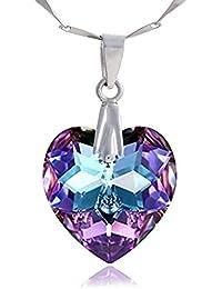 eb006b151aa7b Lunarose Argent sterling 925 Collier Bijoux pour femme Violet cœur  Pendentif Collier Cristal Swarovski en chaîne