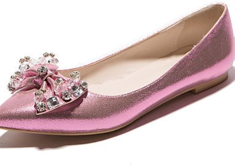 PDX/Damen Schuhe flach Absatz spitz Toe Wohnungen Kleid Pink/Silber/Gold