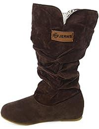 JURTEE Damen Kniehohe Stiefel Flache Ferse Nubukleder Motorradstiefel Herbst Winter Blockabsatz Profilsohle Schuhe