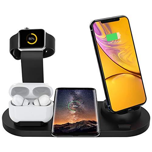Bestrans Wireless Charger, 6 in 1 Charge Ständer für Apple Watch, Airpods und Smartphone, Fast Qi Ladestation für iPhone XR/XS/Xs Max/X/8 Plus/8 Samsung Galaxy Huawei Xiaomi etc (Schwarz)