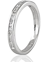 9ct Oro Blanco En forma de entera Eternidad Anillo de Diamante, 0,16 ct Diamante, GH-SI, 1,27 gramos,