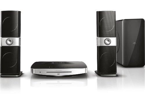 Philips Fidelio HTB9225D/12 2.1 Heimkinosystem mit Crystal Clear Sound (3 D Blu-ray; Smart TV Plus; 500 W; Titan-Hochtöner; HDMI; Bluetooth; ActiveSubARC; Ipod WiFi) schwarz/silber