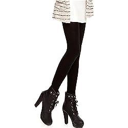 Coversolate Mujer Terciopelo Leggings Moda Medias (Negro)