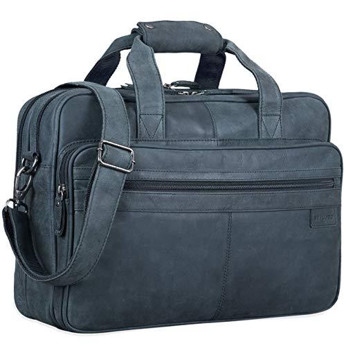 STILORD \'Atlantis\' Leder Aktentasche groß Vintage Lehrertasche Arbeitstasche große Ledertasche Businesstasche zum Umhängen Trolley aufsteckbar, Farbe:anthrazit