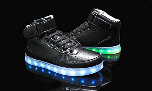 Herren Kinder Leuchtend Led Sport 7 Aufladen Schuhe Usb Farbe Schwarz Sportschuhe Turnschuhe Damen Unisex Sneaker erwachsene Für wZFwqIO