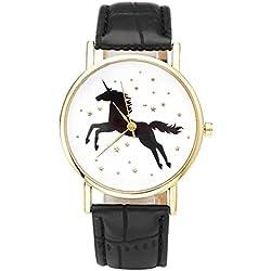 JSDDE Fun Animal Searies Galloping Horse Fashion Womens Ladies Quartz Wrist Watch, Black