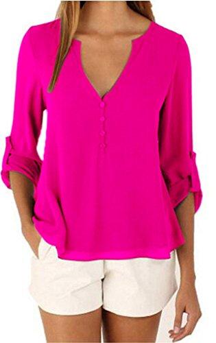 Bigood Femme T-shirt Chiffon Blouse OL Rond Col Chemise Slim Uni Rose Rouge