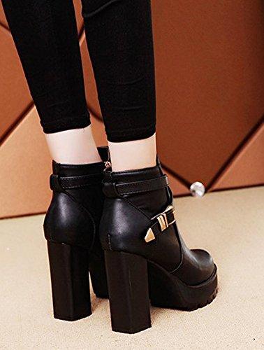 Aisun Femme Fashion Noir Ranger Talons Bloc Bottines Noir