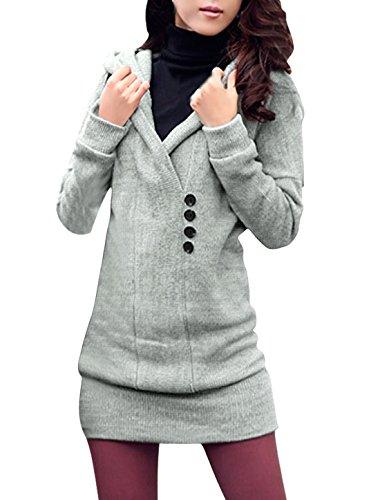 allegra-k-ladies-hooded-pullover-button-decor-tunic-knit-shirt-light-gray-xl