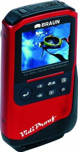 Braun Phototechnik VidiProof Camcorder (5,1 cm (2 Zoll) Display, 1-fach opt. Zoom, HDMI, Flash  Full HD 1080p,  Fotofunktion mit 5 Megapixel, Wasserdicht) rot