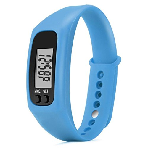 DAY.LIN Run Step Watch Armband Schrittzähler Kalorienzähler Digital LCD Walking Distance (Blau)