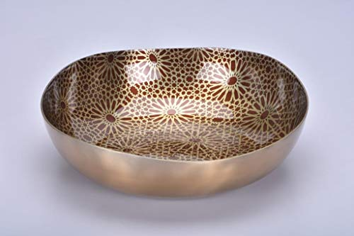 JASPER HOME FASHIONS Aluminium Fruit Bowl with Geometric Pattern and Enamel Coating (Champagne, 12-inch)