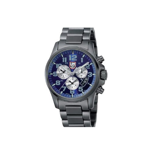 Luminox Men's Atacama Field Chronograph 1844 Grey Stainless-Steel Quartz Watch with Blue Dial