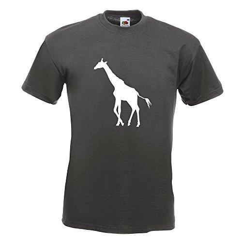 KIWISTAR - Giraffe Silhouette T-Shirt in 15 verschiedenen Farben - Herren Funshirt bedruckt Design Sprüche Spruch Motive Oberteil Baumwolle Print Größe S M L XL XXL Graphit