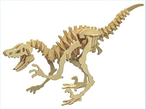3D Real Wood Dinosaur Reptile Ancient Animal Educational Assembly DIY Toy Wooden Figure Model Puzzle (Velociraptor)