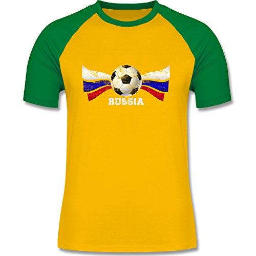 EM 2016 - Frankreich - Russia Fußball Vintage - zweifarbiges Baseballshirt für Männer Gelb/Grün