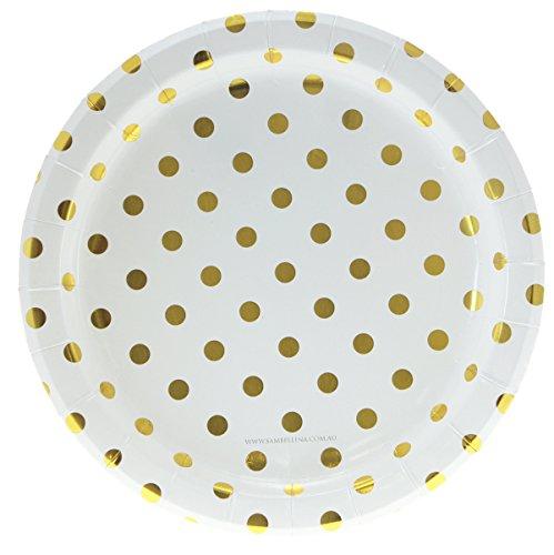 12 Pappteller in Weiß mit goldenen Punkten - Polkadot Gold - Punkte Pappteller
