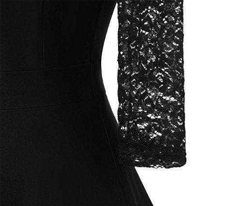 Adodress Frauen Vintager quadratischer Ansatz Blumenspitze 2/3 Hülsen Partei kleidet Cocktail Schwingen Kleid Schwarz