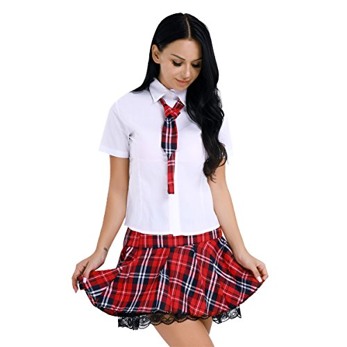 dPois Damen Mädchen Schulmädchen Uniform Schuluniform Anzug Kostüm Frauen Shirt Hemd mit Faltenrock Outfits für Cosplay Karneval Fasching Party Halloween Clubwear S-XL Red&White S (Schuluniform Kostüm Party)