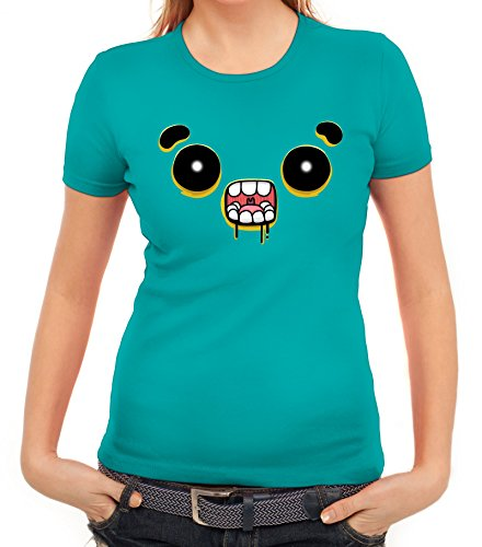 Lustiges Cartoon Emoji Damen T-Shirt mit Funny Faces - Zombie Motiv karibikblau