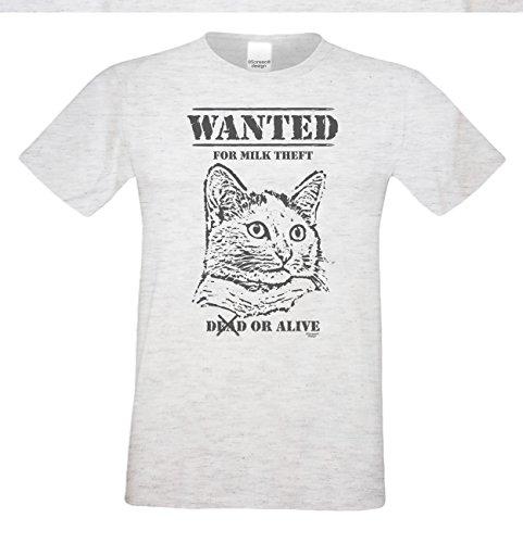 Wanted Katzenmotiv :: Lustiges Sprüche Fun T-Shirt mit Tiermotiv für Herren :: Geschenkidee für Ihn Geschenk für Katzenliebhaber Katzenfans Farbe: grau Grau