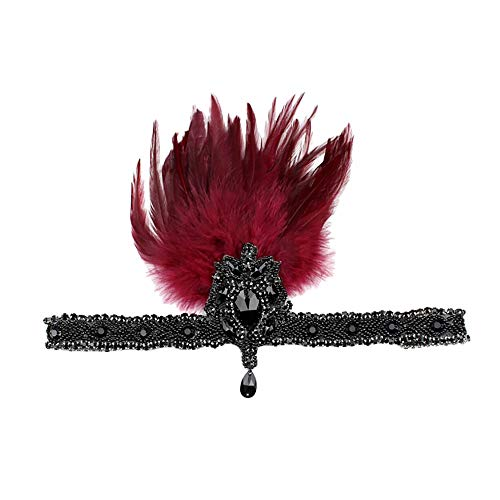 ather Flapper Headband Great Headdress Vintage(M,Rot) ()